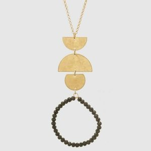 Long Necklace Round Bead Pendant Gold Jewelry NWT